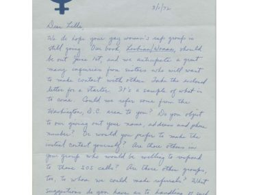 Exchange of letters with Del Martin, March 1, 1972