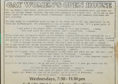 Gay Women's Open House Flyer