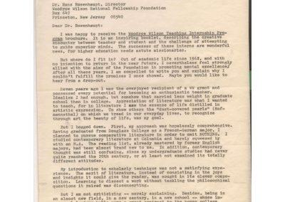 Letter to Dr. Hans Rosenhaupt